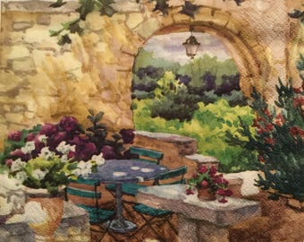 """3 Decoupage Napkins, Patio Morning in Provence, 13"""" x 13"""""""