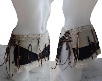 Black Buffalo Mini pixie leather skirt, Steampunk Belt, Wrap Leather Skirt, Leather Medieval Belt,  Tribal leather skirt, burning man