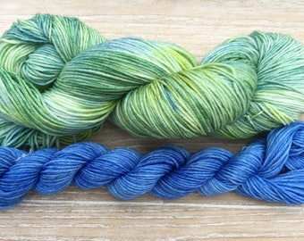 Green-Blue - Yarn set of Hand dyed yarn, 85/15% Superwashed merino wool /nylon