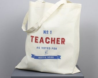 Number One Teacher Tote Bag - personalised - tote bag - shopping bag - teacher gift - end of term gift