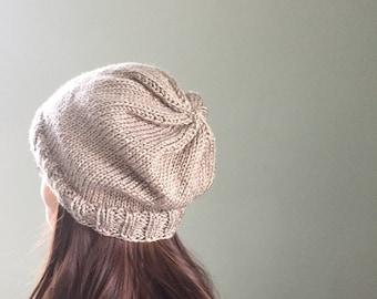 Oversized Beanie Hand Knit, Lightweight Beanie, Hand Knit Lightweight Hat - Granite (Adult)