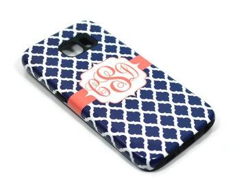 1277 // iPhone 6 Case iPhone 6 Plus Case iPhone 5 Case iPhone5sCase Samsung GalaxyS5case GalaxyS6case, custom case navy coral monogram
