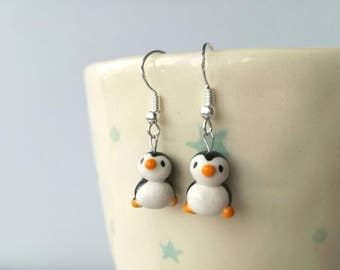 Penguin earrings, ceramic, miniature penguins, cute penguins, mini, tiny, sterling silver earrings