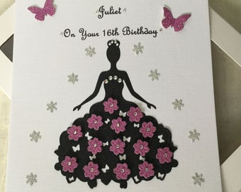 Handmade Personalised Boxed Card Birthday Prom Daughter Sister Wife Friend