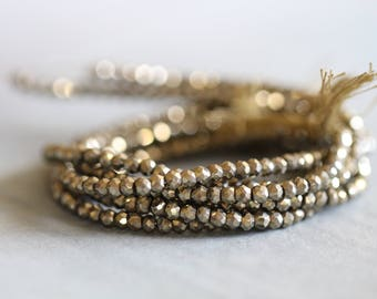 SUMMER SALE Pyrite, 3.5mm, Gold, Faceted, Round, 13.5 inch Strand, Gemstone, Beads, Luxe, Gemstones, Full Strand
