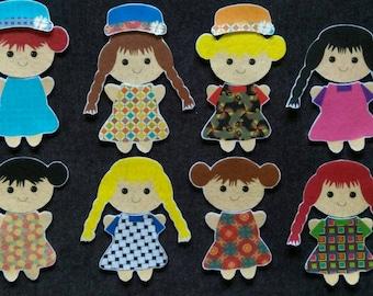 Interchangeable Girls Felt Doll Set // Preschool // On the Go Fun // Dress Up // School // Home // Imagination // Dress Up