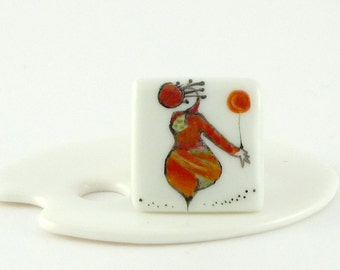 Porcelain Ring,Ceramic Ring,Red Ring,Porcelain Jewelry,Bague Carrée en Porcelaine,Red Figure Decor
