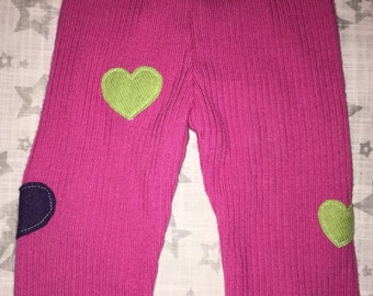 100% Cashmere Fuchsia Appliqued Baby Leggings Longies Pants Longies - Size 6M