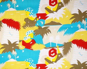 Beach Brown&Red Palms Sea Women-Cotton Printed-1980s Fabric-Handcraft supply-Cotton by the yard-Clothing-Hawaii cloth-2Y50cm