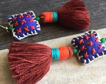Long square tassel earrings, long tassel earrings, long square earrings, colorful earrings, long colorful tassel earrings