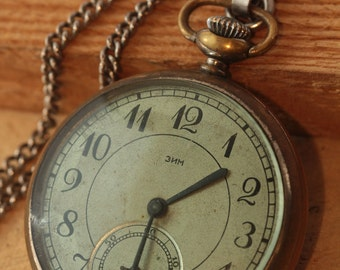 Rare ZIM Pocket Watch Vintage cal.ChK-6 Soviet Russian 1940's ,Collecting  . Collecting   Gift For father , husband , grandfather ж