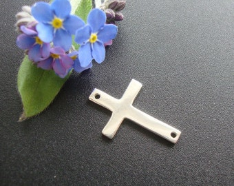 Sterling Silver Sideways Cross Connector, 19x12mm, Handmade Findings