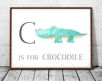 Letter C | Nursery Print | Kids room | Playroom Decor | Art | Crocodile | Green theme | children'a art | JW | Printable | baby room boy girl