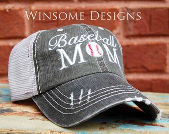 Baseball Mom Cap-Baseball Mom-Baseball Mom Apparel-Baseball Mom Hat-Baseball Mom Caps-Cap for Baseball Moms-Baseball Mom Trucker Hat