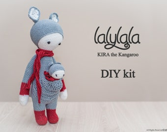 Lalylala Kira pattern - DIY Kit-  Pink Kira the Kangaroo - DIY Crochet Kit - Lalylala pattern - DIY Craft - Gift for girl - Valentine's gift