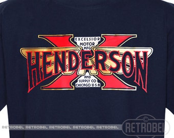 T-Shirt HENDERSON, American Vintage motorcycles, Excelsior Henderson Men's Motorcycle t shirt, Retro motorcycle gift, Graphic Tee,