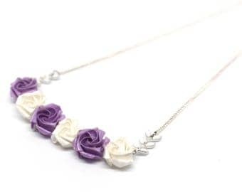 Necklace with purple origami flowers wedding Japanese paper