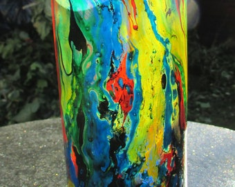 Single Stained Glass Multicoloured Marbled Tall Tumbler