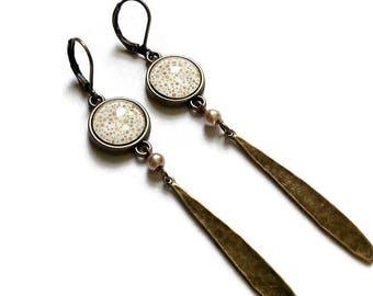 bronze long earrings * gold bubbles * minimalist trend, cabochon glass