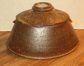 Mike Knox, Wood Fired Studio Stoneware Pottery Vase With Wood Ash Glaze Marked