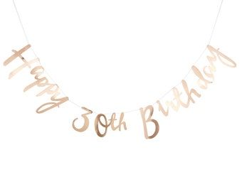 Birthday Bunting | Happy 30th Banner | Gold Birthday Bunting | 30th Birthday Party | 30th Party Decorations | Birthday Banner | 1.5m Long