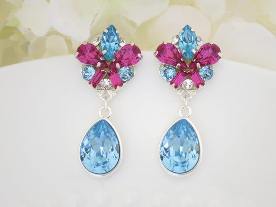 One of a Kind earring, Aqua and Fuchsia teardrop earring, Swarovski crystal post earring, Unique drop earring