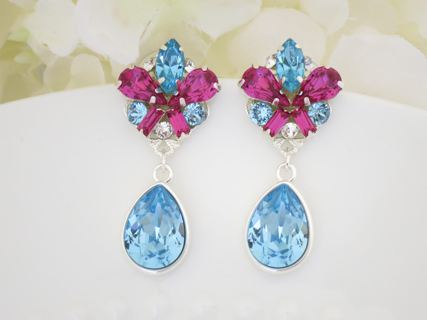 Aqua and Fuchsia teardrop earring, Swarovski crystal post earring, Unique drop earring