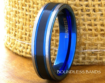 Tungsten Ring Tungsten Wedding Ring Mens Women's Wedding Band Promise Anniversary Engagement 6mm Tricolor White Blue Black Matching Ring Set