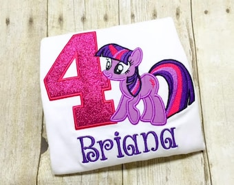 My little pony birthday shirt or bodysuit - twilight sparkle pony - pony birthday shirt - monogram pony - purple pony