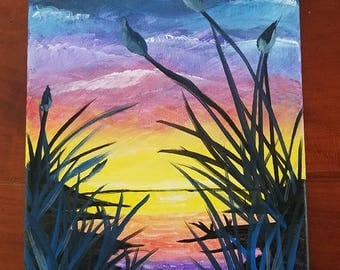 Evening Sunset on the River, Amateur Art, Acrylic Canvas Painting