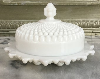 Milk Glass Footed Round Butter Dish With Lid / Vintage Westmoreland  American Hobnail Milk Glass Covered Dish