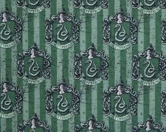 Harry Potter  Fabric / Hogwarts / Slytherin Jade  Digitally Printed Yardage / Camelot 2380113J / Fabric By The Yard & Fat Quarters