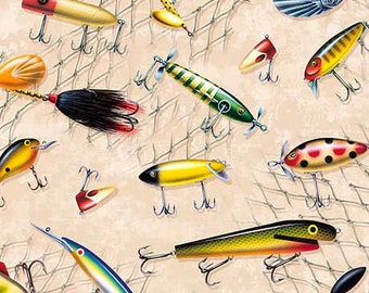 Fishing Fabric Fish on Cream / Fishing Lures Fabric / So Many Fish So Little Time / Quilting Treasures 1649 /  Yardage and Fat Quarters