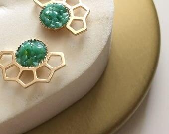 Earrings Dakota Golden end and semiprecious stone