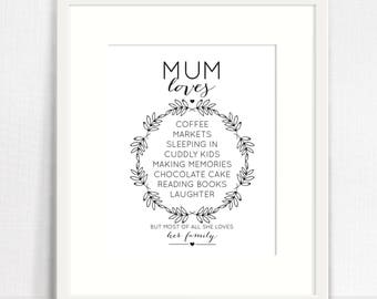 Mum Loves Mother's Day Print