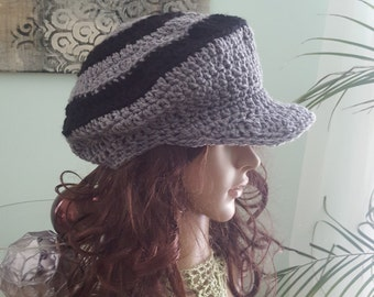 Newsboy Hat, Crochet Hat , Beret, Grey And Black Newsboy Hat
