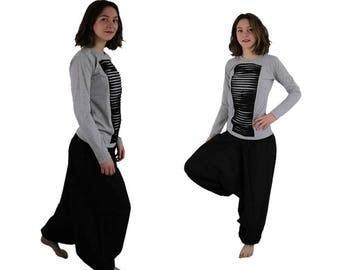 Solid color Harem Pants Sarouel Trouser black