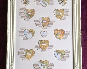 Framed Vintage Heart Shaped Map Travel/Honeymoon Table Planner for Events and Weddings