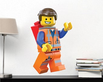 Emmet Wall Decal Movie Wall Designs kids bedroom decals Everything Is Awesome Builder Toys Removable Kids Bedroom Wall Art Decals Mural, s99