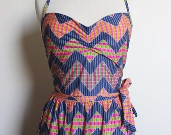 VINTAGE Patterned Wrap Dress With Criss Cross Back Detail and Full Length Skirt