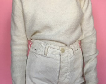90s Angora and Lambswool Blend Cream Mockneck Sweater