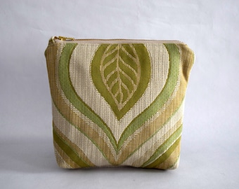 Eco Friendly Leaf Pouch. Green and Beige Makeup Bag Made With Recycled Fabrics. Upcycled Toiletry Storage with Zipper Close and Flat Bottom
