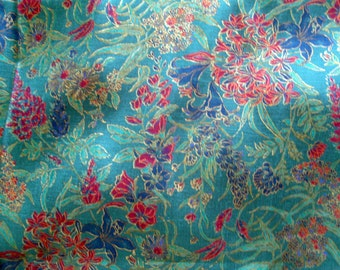 100% TURQUOISE SILK 5.5 Yards 40 in. wide