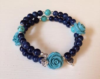 Memory Wire Beaded Bracelet Denim Blue Beads and Blue Rose and Celtic Heart Charms