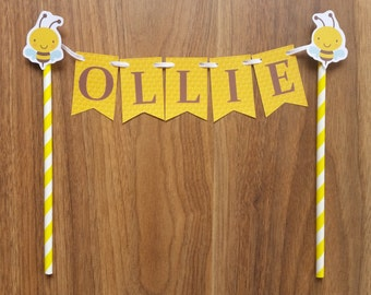 Custom Made Bumble Bee ONE  or NAME Cake Bunting