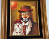 W Riggs Painting Sad Clown Dog Balloons Hat Party Framed Art Oil Acrylic 70s