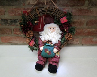 Christmas Wreath Santa Claus Holiday Decoration Vintage Home Decor Crafts Stuffed Santa
