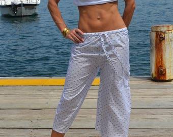 SALE - White Cotton Capri pyjamas / lounge pants with Slate Grey Spots, with elasticated waist and drawstrings