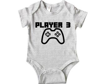 Player 3 - Player 1 Player 2 Father Son Matching Shirts Father And Son Gift Daddy Baby Shirt Matching Family Outfits Bodysuit MB313