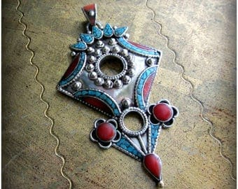 Talhakimt Pendant in silver w/ turquoise and coral, large tanfouk ethnic silver, tribal fusion belly dance jewelry, statement necklace